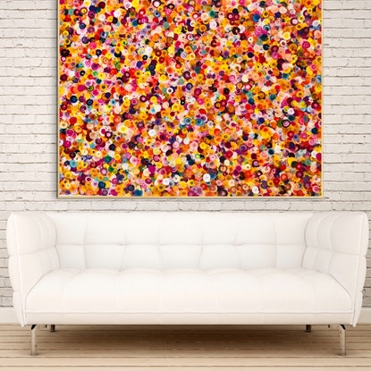 (CreativeWork) Peach melba framed 122x92 by Sophie Lawrence. Acrylic Paint. Shop online at Bluethumb.