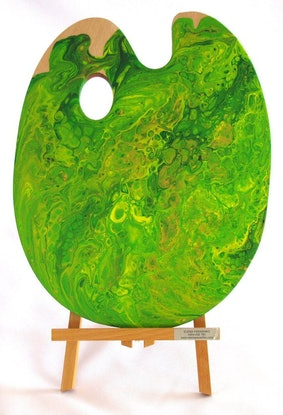 (CreativeWork) Palette Green and Gold 30 cm x 40 cm abstract flow by Elena Parashko. Acrylic Paint. Shop online at Bluethumb.