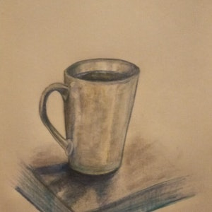 (CreativeWork) The Essential Morning Coffee by K.A. Oakley. drawing. Shop online at Bluethumb.