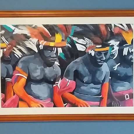 (CreativeWork) Malekula Dancers by Ange Gajewski. Acrylic Paint. Shop online at Bluethumb.