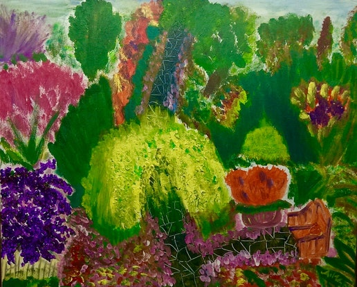 (CreativeWork) Garden by Aileen Smith. Acrylic Paint. Shop online at Bluethumb.