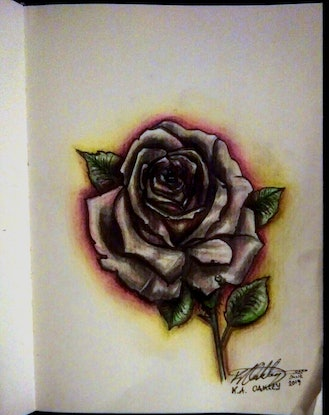 "(CreativeWork) ""Rose Dew Glow"" (allow 2 days for framing) by K.A. Oakley. Drawings. Shop online at Bluethumb."