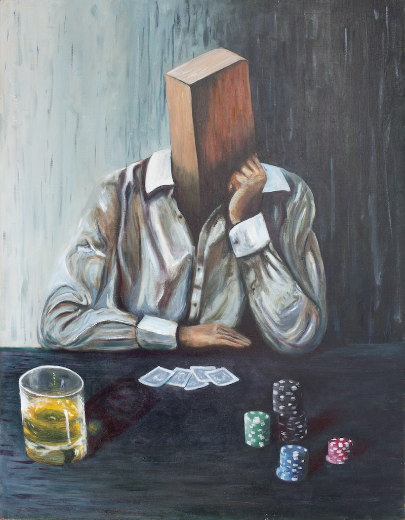 (CreativeWork) Blockhead by Mike Lutz. Oil Paint. Shop online at Bluethumb.