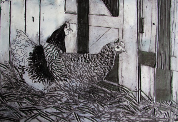 (CreativeWork) hen house by Helen Evans. Other Media. Shop online at Bluethumb.