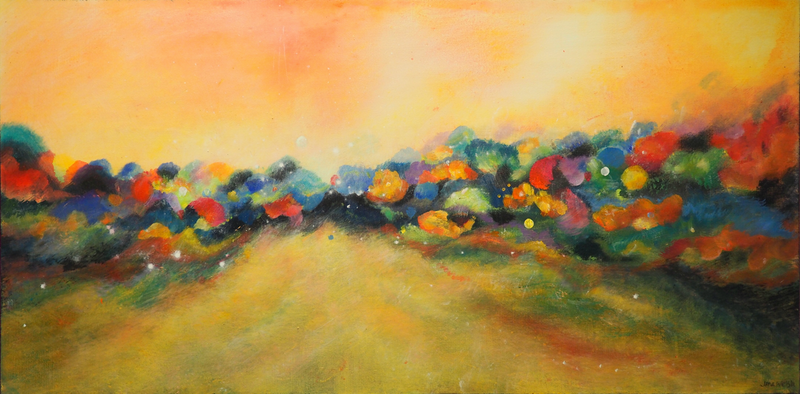 (CreativeWork) Golden Days are Here by Jane Welsh. Acrylic Paint. Shop online at Bluethumb.