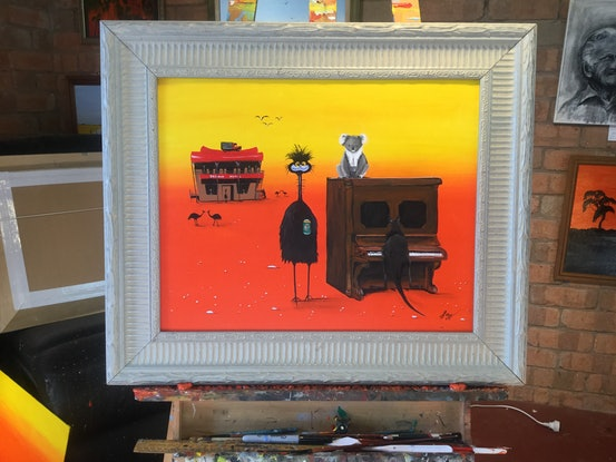 (CreativeWork) Desert opera and pub (commission) by Geoff Lugg. Acrylic Paint. Shop online at Bluethumb.