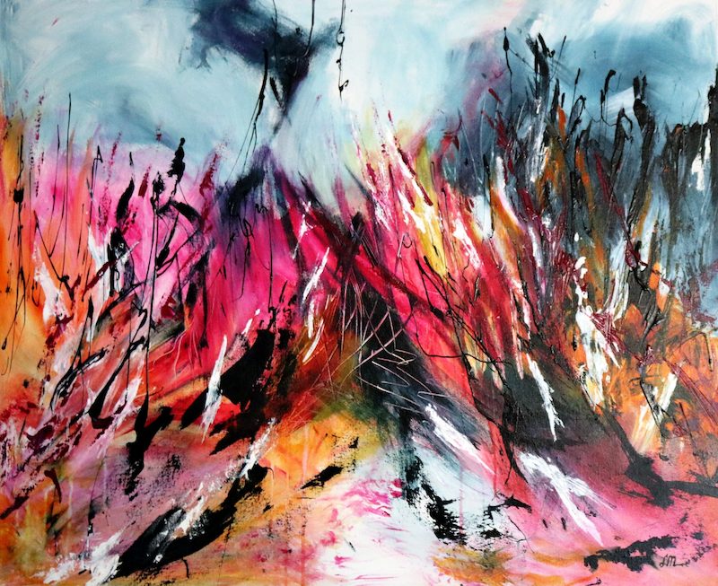 (CreativeWork) Desert Fire by Lorraine Moore. Acrylic Paint. Shop online at Bluethumb.
