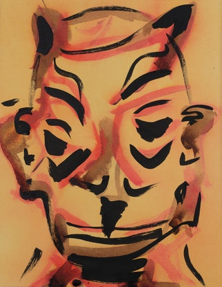 (CreativeWork) Mask I by Mike Lutz. Drawings. Shop online at Bluethumb.