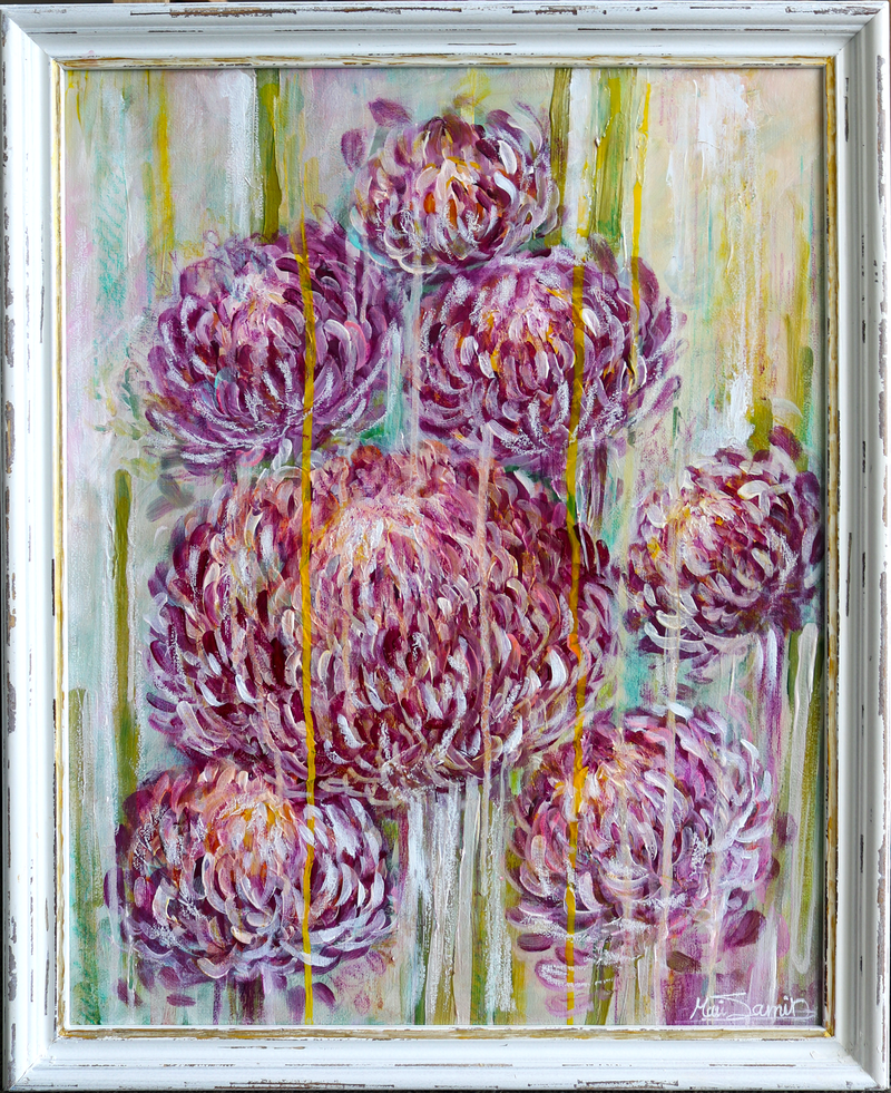 (CreativeWork) Purple Flowers by Mirsai _18. Acrylic Paint. Shop online at Bluethumb.