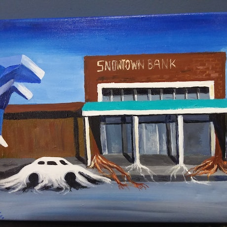 (CreativeWork) SNOWTOWN BANK by Ange Gajewski. Acrylic Paint. Shop online at Bluethumb.