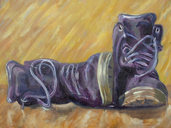 (CreativeWork) Nobody Wears Purple Boots by Mike Lutz. Oil Paint. Shop online at Bluethumb.
