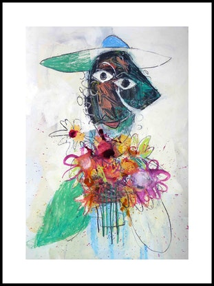 (CreativeWork) Lady of the Flowers  by John Graham. Mixed Media. Shop online at Bluethumb.