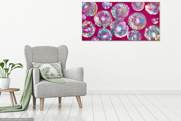 "(CreativeWork) ""Jellyfish in the tropics""  modern original painting  by Debra Ryan. Mixed Media. Shop online at Bluethumb."