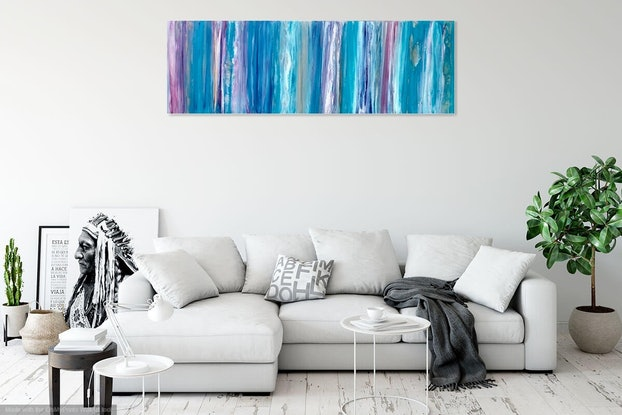 "(CreativeWork) ""New Moon"" contemporary wall art painting by Debra Ryan. Mixed Media. Shop online at Bluethumb."
