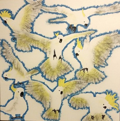 (CreativeWork) Flock Sulphur Cockatoos by Susan Willemse. Acrylic Paint. Shop online at Bluethumb.