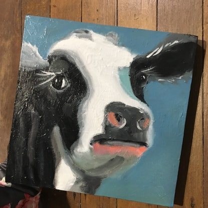 (CreativeWork) Nosey  by sara bell. Oil Paint. Shop online at Bluethumb.