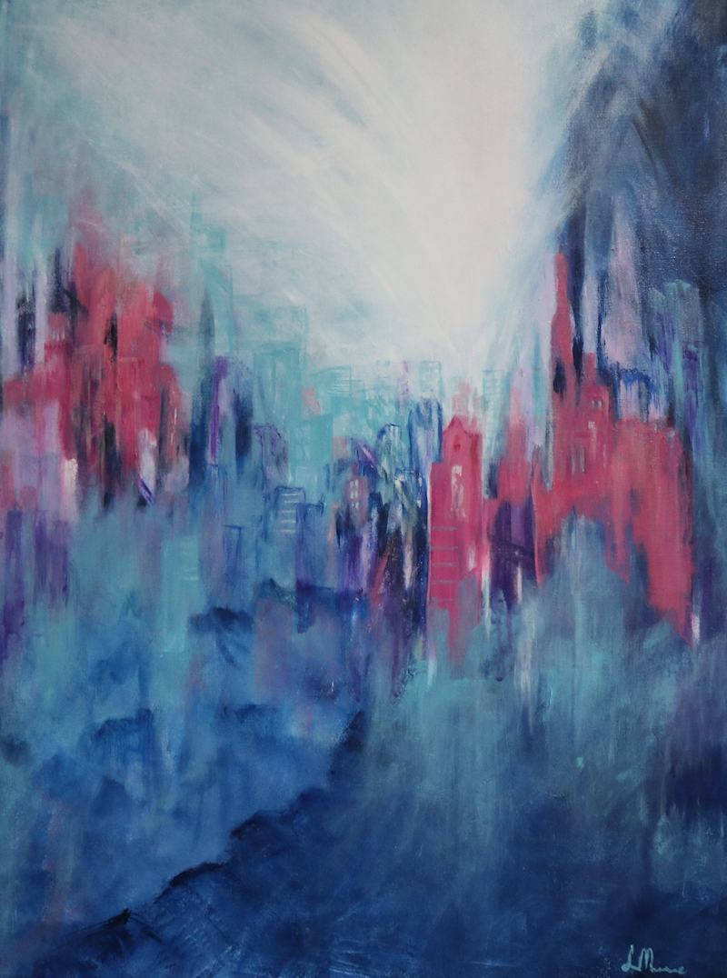 (CreativeWork) City Magic by Lorraine Moore. Acrylic Paint. Shop online at Bluethumb.