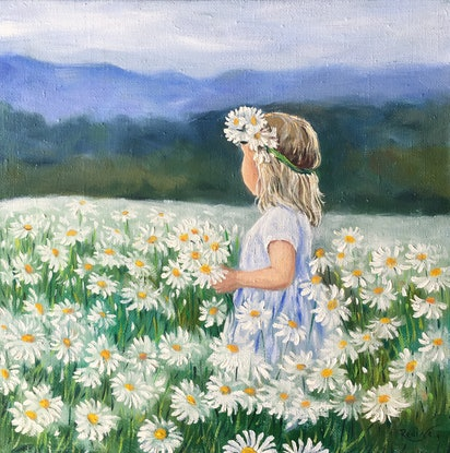 (CreativeWork) Little girl with daisy flowers by Irina Redine. Oil Paint. Shop online at Bluethumb.