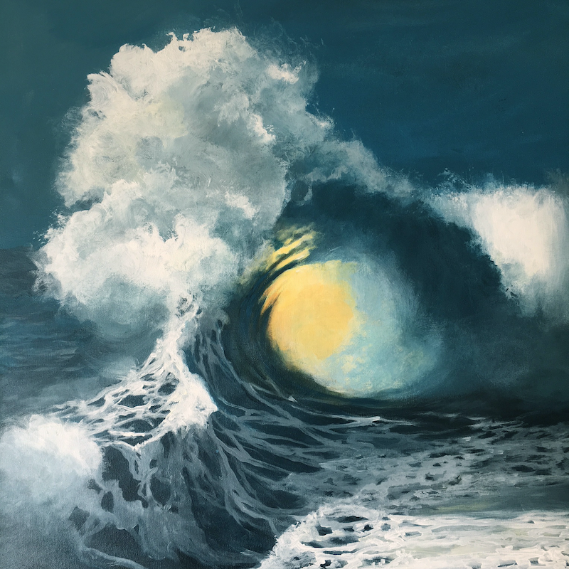 (CreativeWork) Light in the Wave by Kathryn Johnston. Acrylic Paint. Shop online at Bluethumb.
