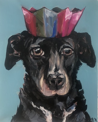 (CreativeWork) King George the Lab by Judith Lanigan. Acrylic Paint. Shop online at Bluethumb.