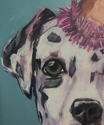 (CreativeWork) Dignity, a Dalmation by Judith Lanigan. Acrylic Paint. Shop online at Bluethumb.
