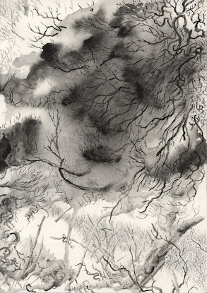 (CreativeWork) Forest Abstraction by Lewis Smart. Watercolour Paint. Shop online at Bluethumb.