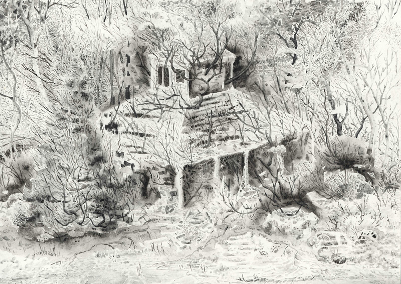 (CreativeWork) Forest Ruin by Lewis Smart. Watercolour Paint. Shop online at Bluethumb.