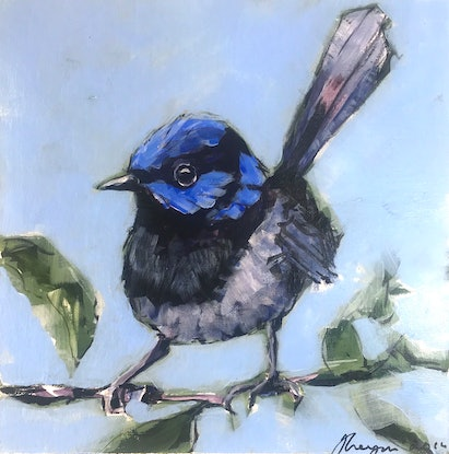 (CreativeWork) Superb Blue Wren Two by Judith Lanigan. Acrylic Paint. Shop online at Bluethumb.