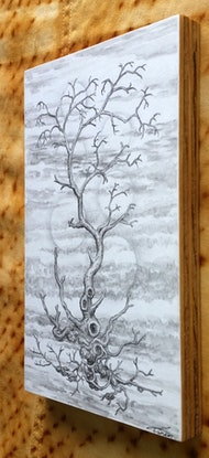 (CreativeWork) Ghost Tree with Orbs by Lewis Smart. Watercolour Paint. Shop online at Bluethumb.