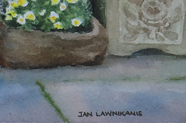 (CreativeWork) A PLACE TO PONDER by JAN LAWNIKANIS. Watercolour Paint. Shop online at Bluethumb.