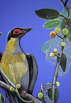 (CreativeWork) Figbird by Naomi Malone. Acrylic Paint. Shop online at Bluethumb.