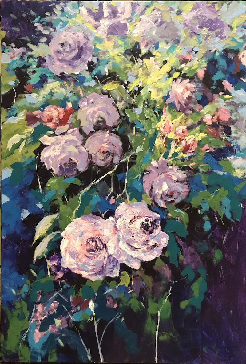 (CreativeWork) Purple Roses  by Tooky Sriwong-rach. Acrylic Paint. Shop online at Bluethumb.