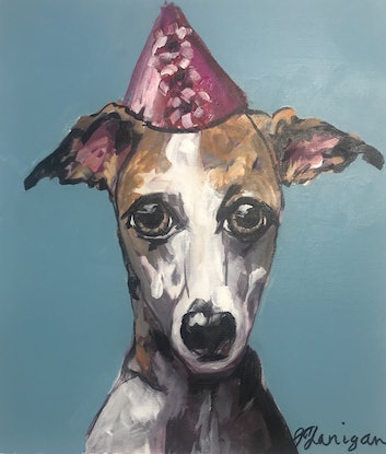 (CreativeWork) Calamity J.  a Whippet by Judith Lanigan. Acrylic Paint. Shop online at Bluethumb.