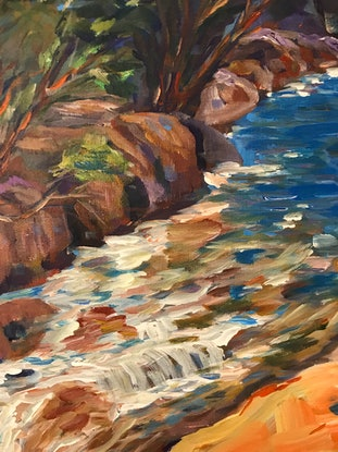 (CreativeWork) John Forrest Waterfall  by Tooky Sriwong-rach. Acrylic Paint. Shop online at Bluethumb.
