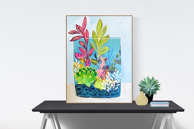 (CreativeWork) Splash of Pink by Clair Bremner. Acrylic Paint. Shop online at Bluethumb.