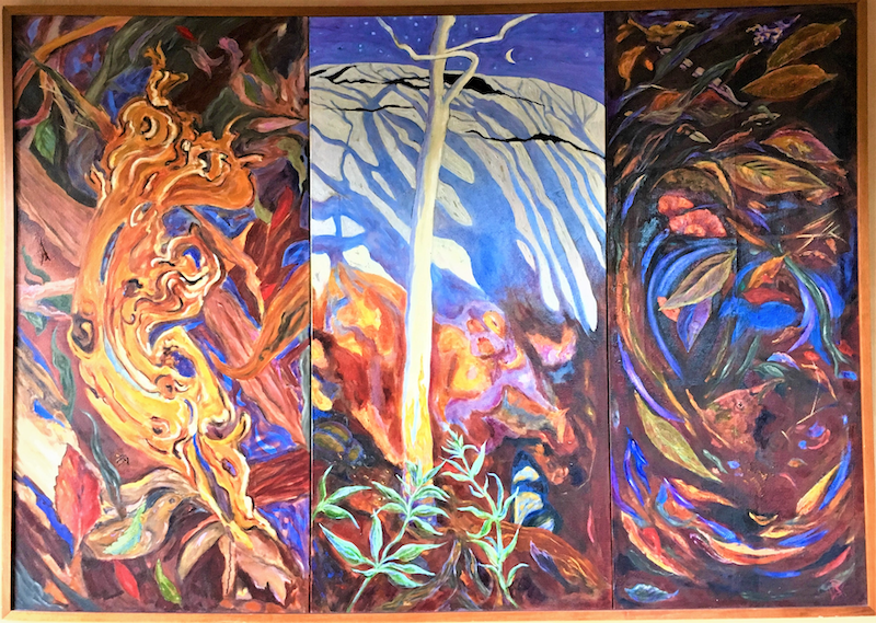 (CreativeWork) Crystal Mountain - Triptych by Brita Lee. Oil Paint. Shop online at Bluethumb.