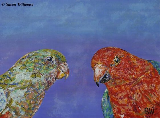 (CreativeWork) King Parrots by Susan Willemse. Acrylic Paint. Shop online at Bluethumb.