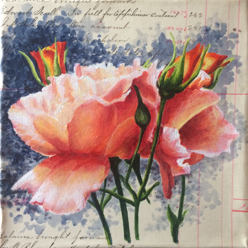 (CreativeWork) Floral Charmer V - Roses by Jillian Crider. Acrylic Paint. Shop online at Bluethumb.