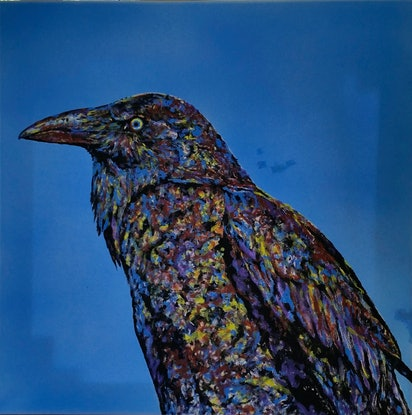 (CreativeWork) Crow by Susan Willemse. Acrylic Paint. Shop online at Bluethumb.