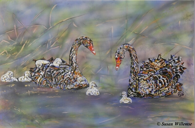 (CreativeWork) Swans by Susan Willemse. Acrylic Paint. Shop online at Bluethumb.