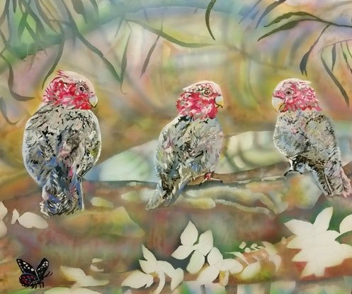 (CreativeWork) Three Galahs by Susan Willemse. Acrylic Paint. Shop online at Bluethumb.