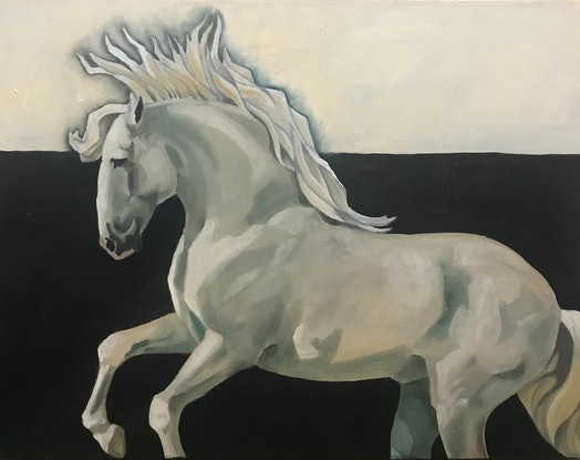 (CreativeWork) Grey Horse III by Antoinette Stokell. Oil Paint. Shop online at Bluethumb.