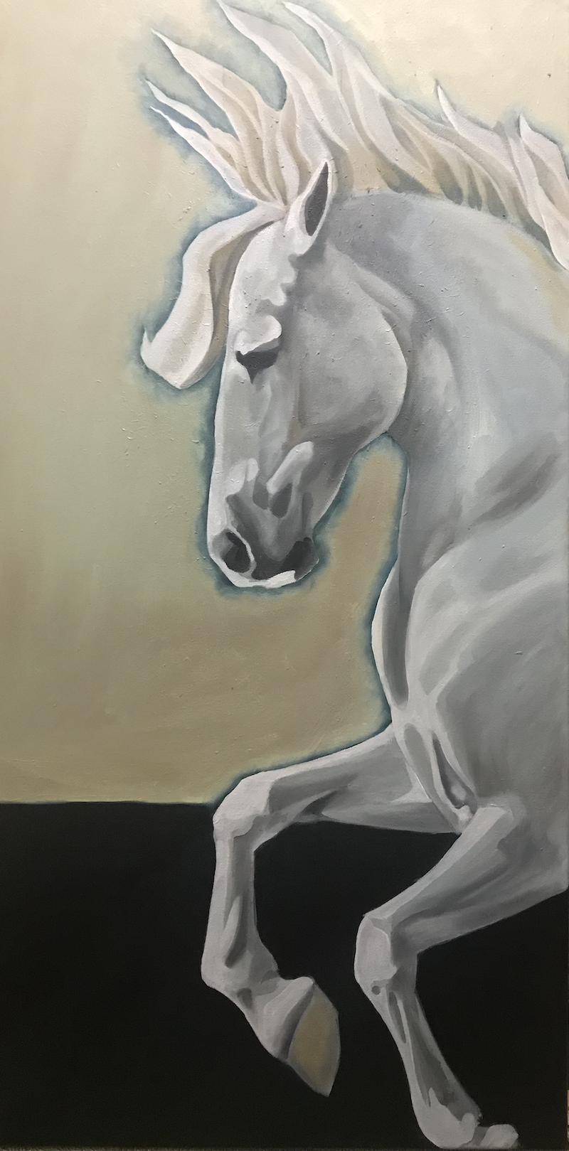 (CreativeWork) Grey Horse IV by Antoinette Stokell. Oil Paint. Shop online at Bluethumb.