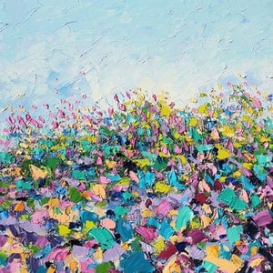 (CreativeWork) Growing Wild -  Large Abstract Flower Landscape Painting by Angela Hawkey. oil-painting. Shop online at Bluethumb.