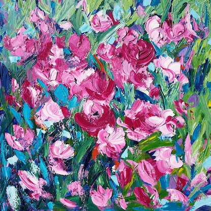 (CreativeWork) Splash Of Pink 2 - Large Abstract Flower Landscape by Angela Hawkey. Mixed Media. Shop online at Bluethumb.