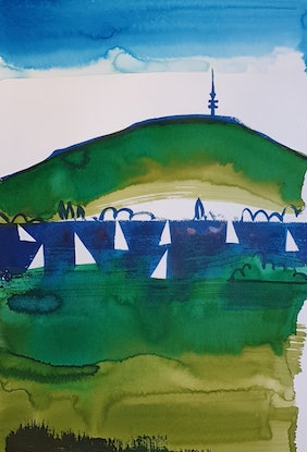 (CreativeWork) Lake Burley Griffin 7/10 by Jennifer Baird. Mixed Media. Shop online at Bluethumb.
