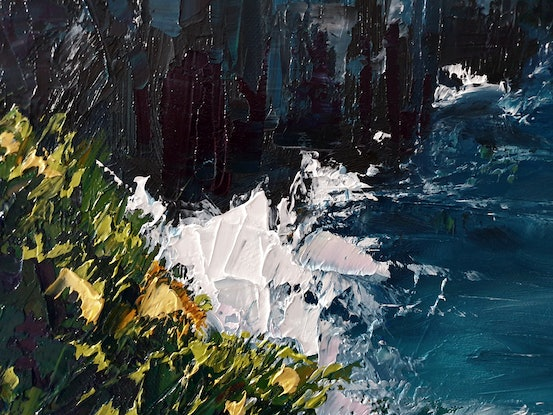 (CreativeWork) Cliffs Of Moher -  Abstract Beach Landscape by Angela Hawkey. Oil Paint. Shop online at Bluethumb.