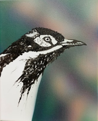 (CreativeWork) Blue-faced Honey eater by Susan Willemse. Acrylic Paint. Shop online at Bluethumb.