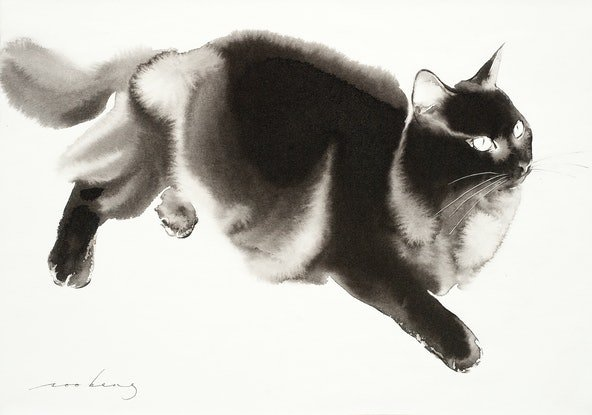 (CreativeWork) Cat Romp3 by Soo Beng Lim. Drawings. Shop online at Bluethumb.