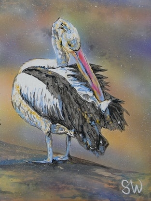 (CreativeWork) Pelicans by Susan Willemse. Acrylic Paint. Shop online at Bluethumb.